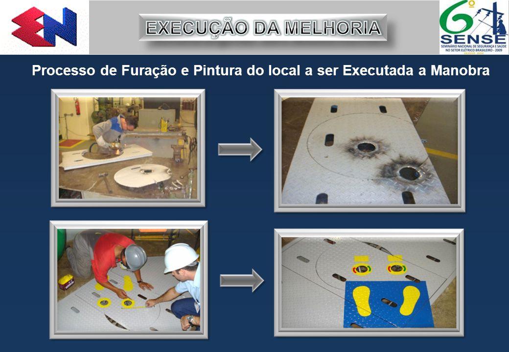 Processo de Furação e Pintura do local a ser Executada a Manobra