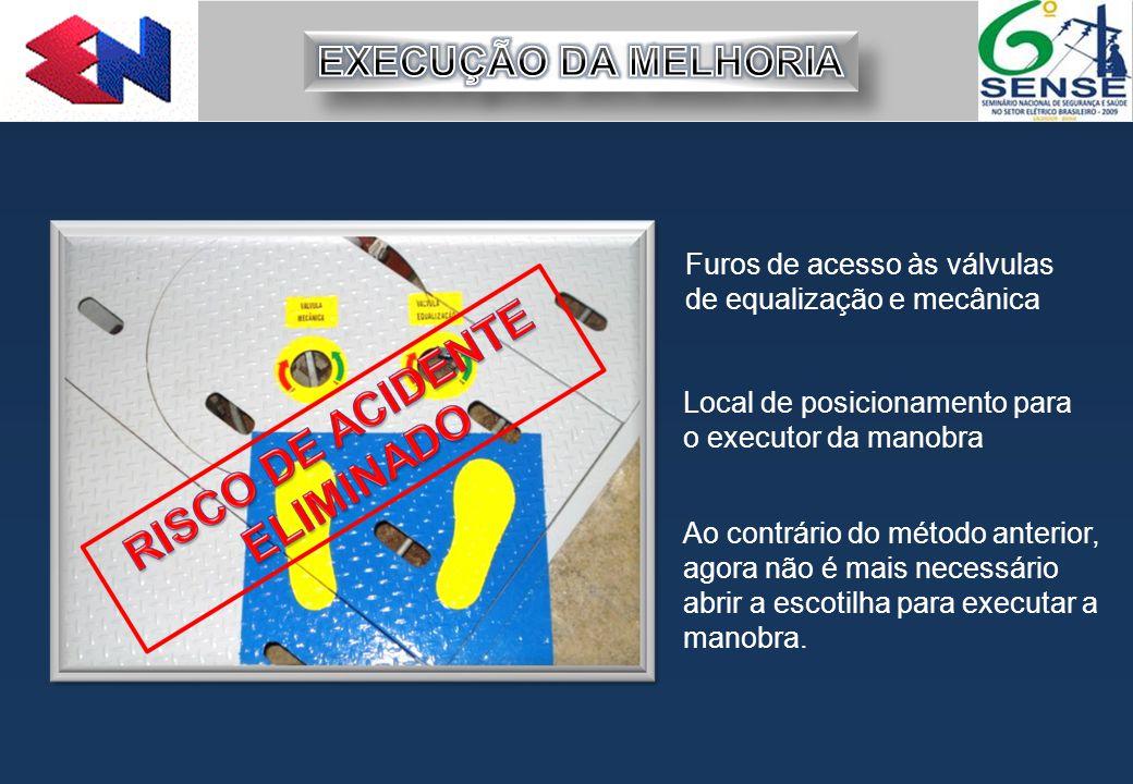 EXECUÇÃO DA MELHORIA Furos de acesso às válvulas de equalização e mecânica. Local de posicionamento para o executor da manobra.