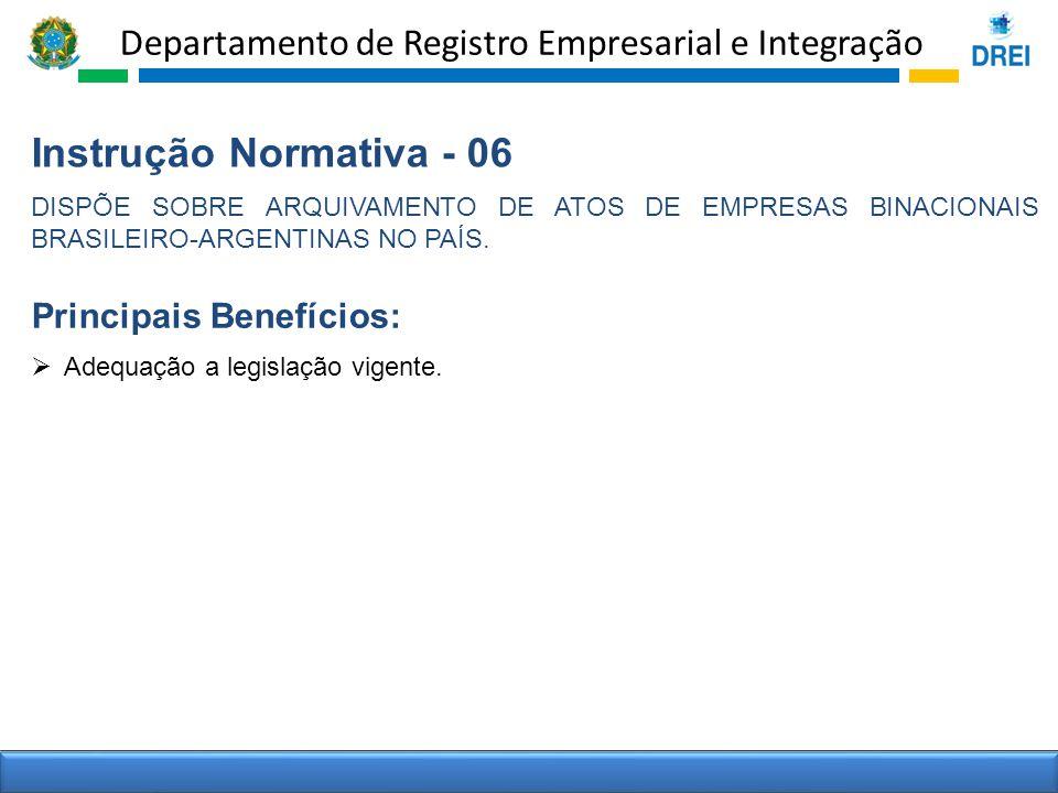Instrução Normativa - 06 Principais Benefícios:
