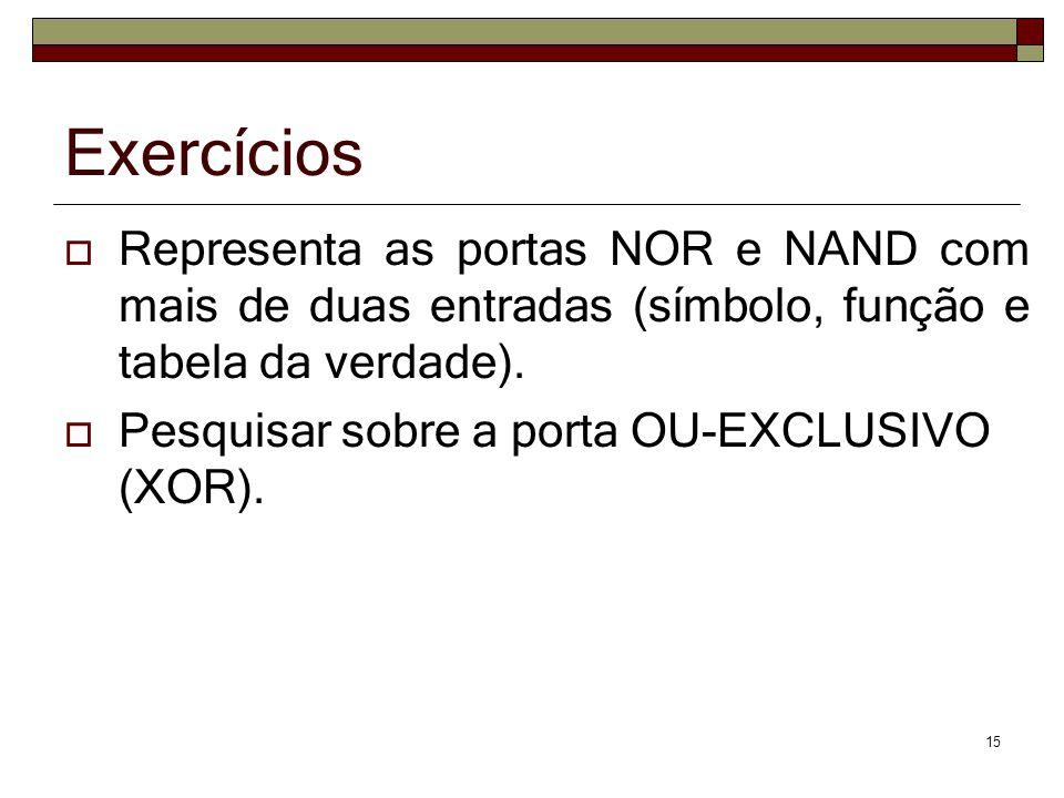 Exercícios Representa as portas NOR e NAND com mais de duas entradas (símbolo, função e tabela da verdade).