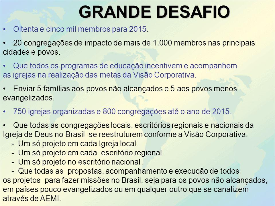 GRANDE DESAFIO Oitenta e cinco mil membros para 2015.