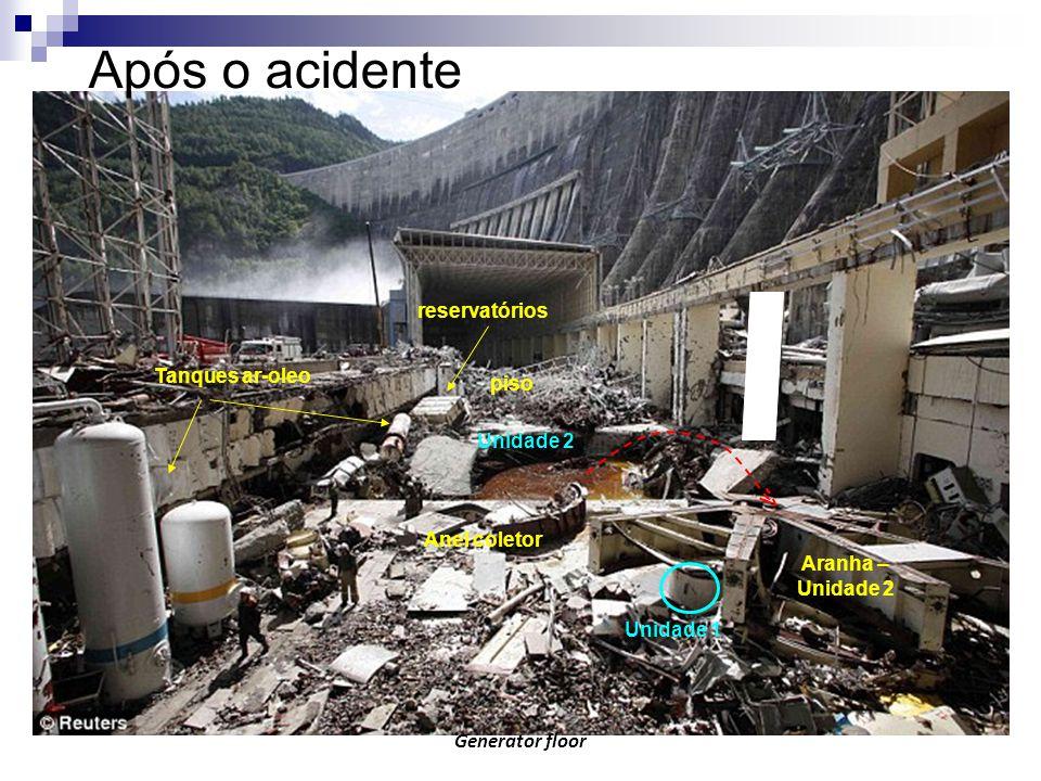 Após o acidente reservatórios Tanques ar-oleo piso Unidade 2