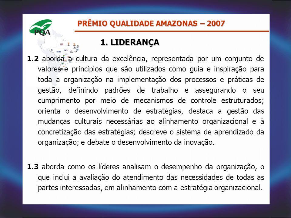 1. LIDERANÇA PRÊMIO QUALIDADE AMAZONAS – 2007