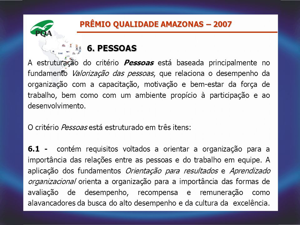 6. PESSOAS PRÊMIO QUALIDADE AMAZONAS – 2007
