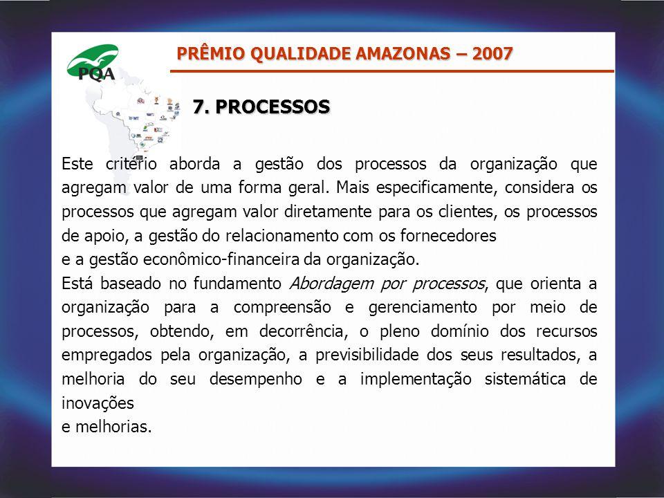 7. PROCESSOS PRÊMIO QUALIDADE AMAZONAS – 2007