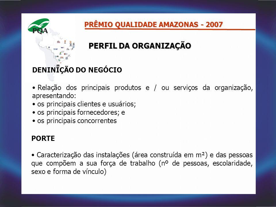 PERFIL DA ORGANIZAÇÃO PRÊMIO QUALIDADE AMAZONAS - 2007