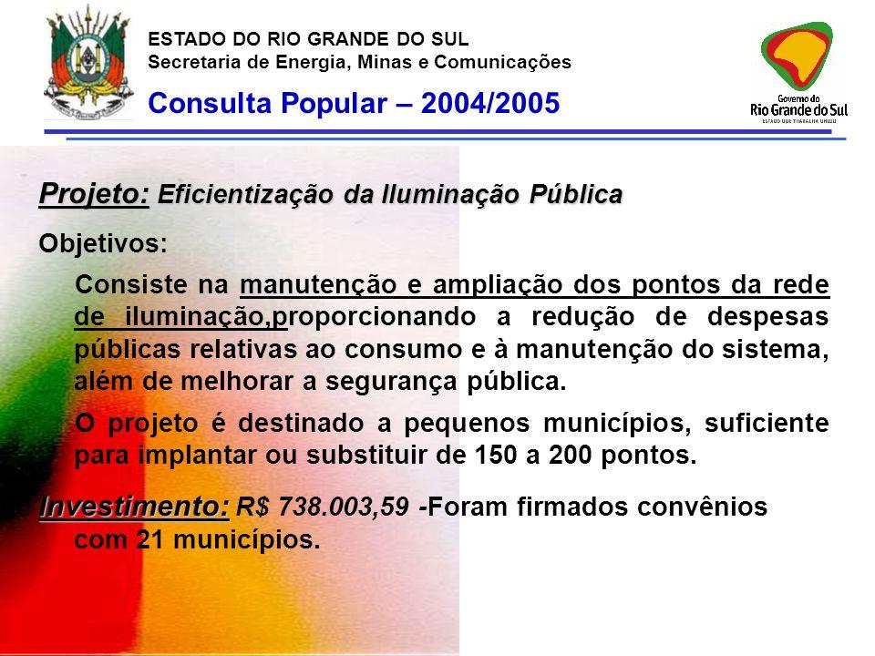 Projeto: Eficientização da Iluminação Pública