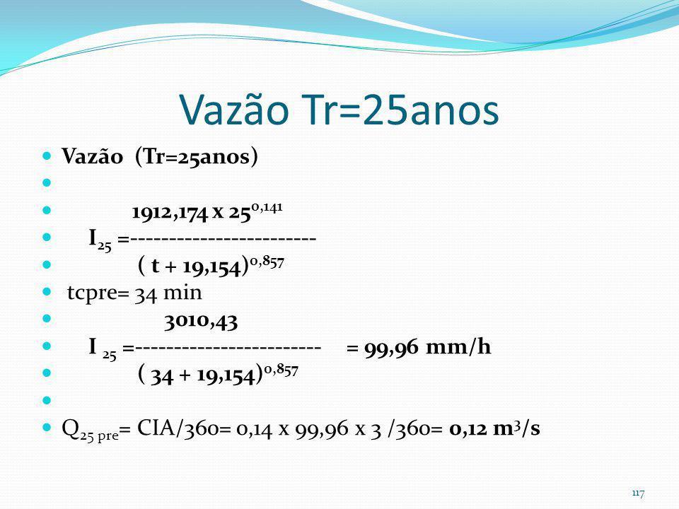 Exemplo 8-Vazão Tr=25anos