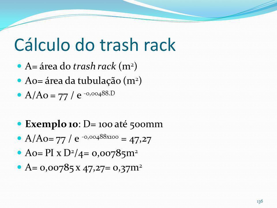 Trash rack ( ≤ 0,15m) (Há cálculos da área da grade e da perda de carga)