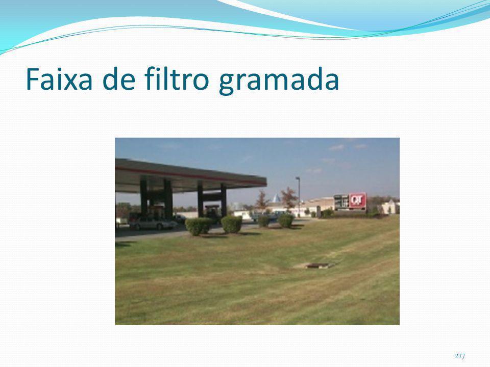 Faixa de filtro gramada (filter strip) (filtra as águas pluviais) Não tem nada a haver com enchentes e sim com melhoria da qualidade das águas pluviais