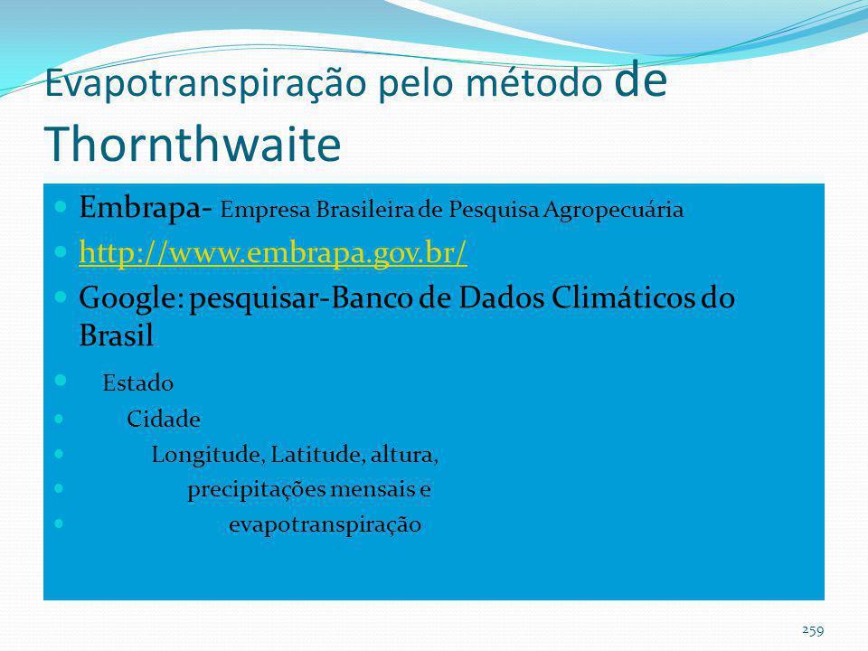 Chuvas mensais Chuvas mensais: Instituto Nacional de Metereologia -INMET. http://www.inmet.gov.br/
