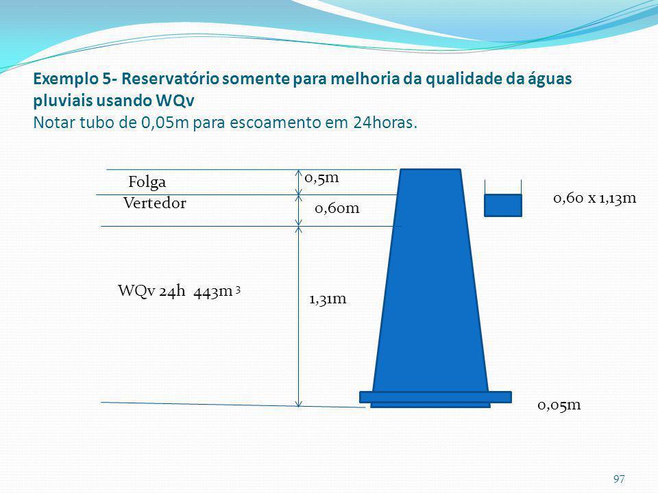 Diâmetro do orifício do Exemplo 5
