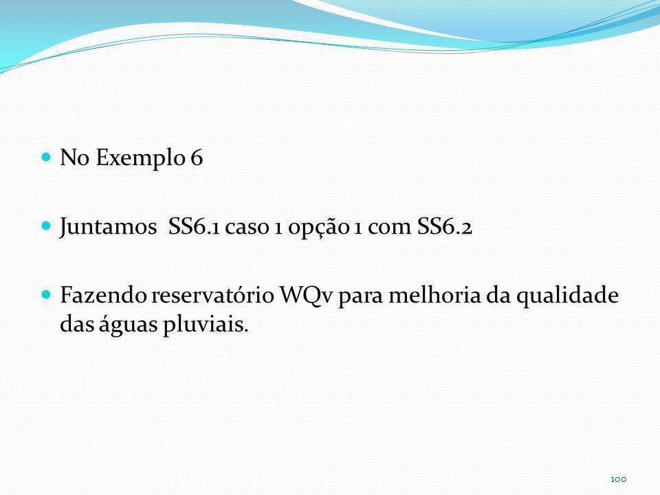 Exemplo 6- Reservatório para melhoria da qualidade da águas pluviais usando WQv e enchente TR=2anos Notar tubo de 0,05m para escoamento em 24horas.