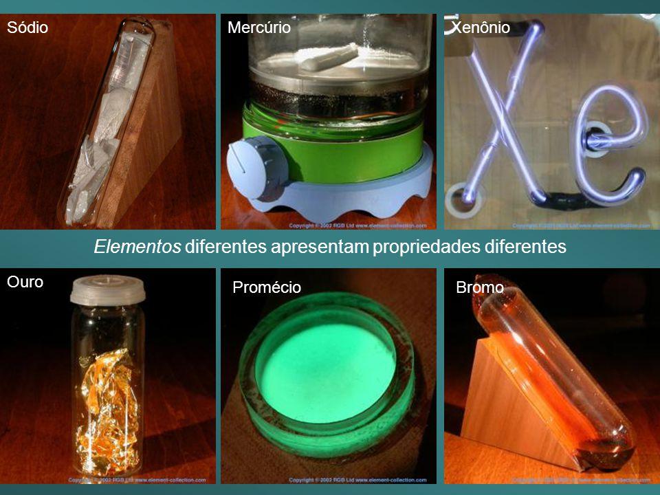 Elementos diferentes apresentam propriedades diferentes