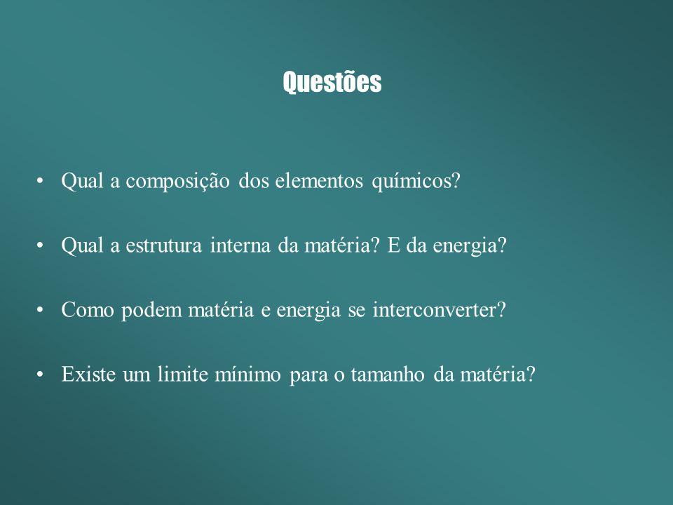 Questões Qual a composição dos elementos químicos