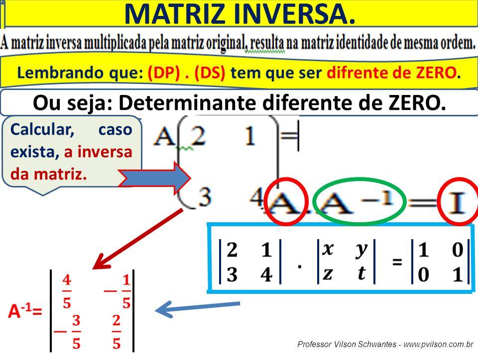 MATRIZ INVERSA. Ou seja: Determinante diferente de ZERO.