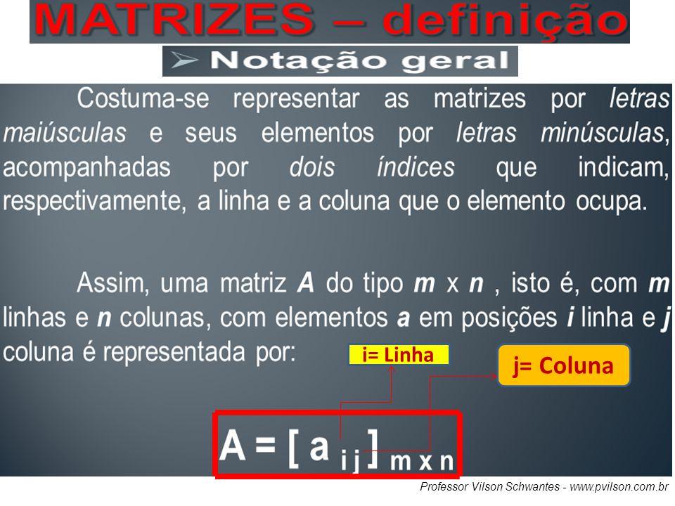 i= Linha j= Coluna Professor Vilson Schwantes - www.pvilson.com.br