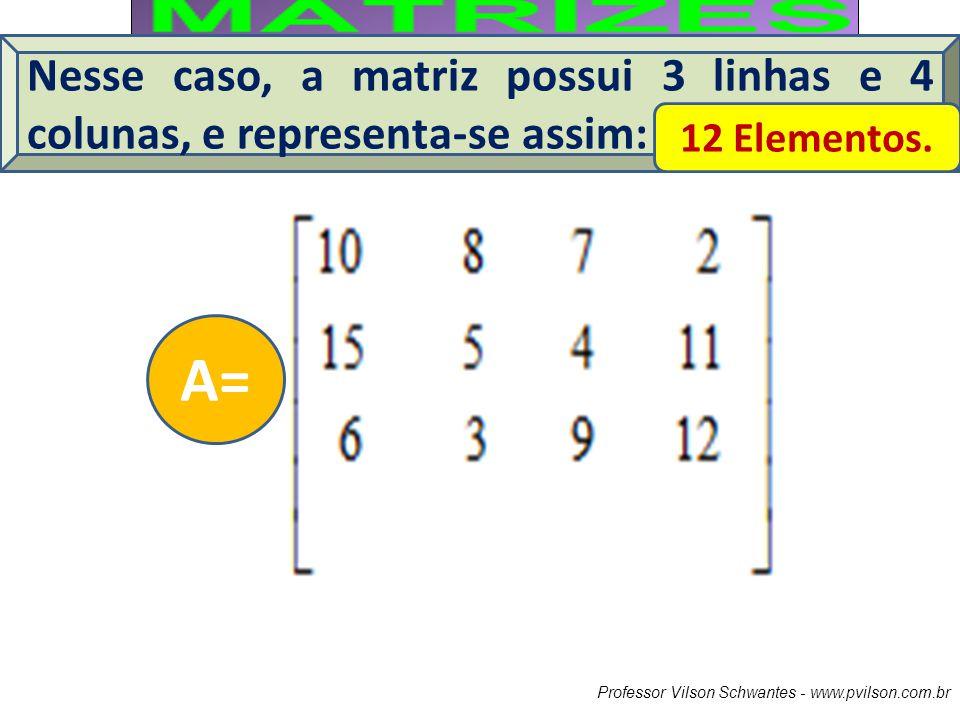 Nesse caso, a matriz possui 3 linhas e 4 colunas, e representa-se assim: