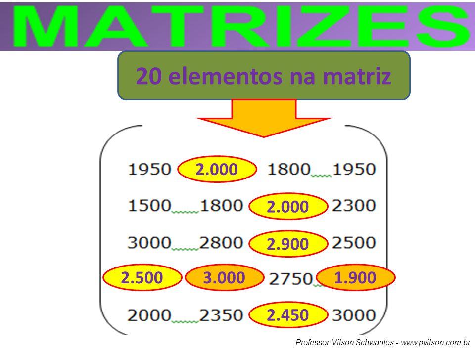 20 elementos na matriz 2.000. 2.000. 2.900. 2.500.