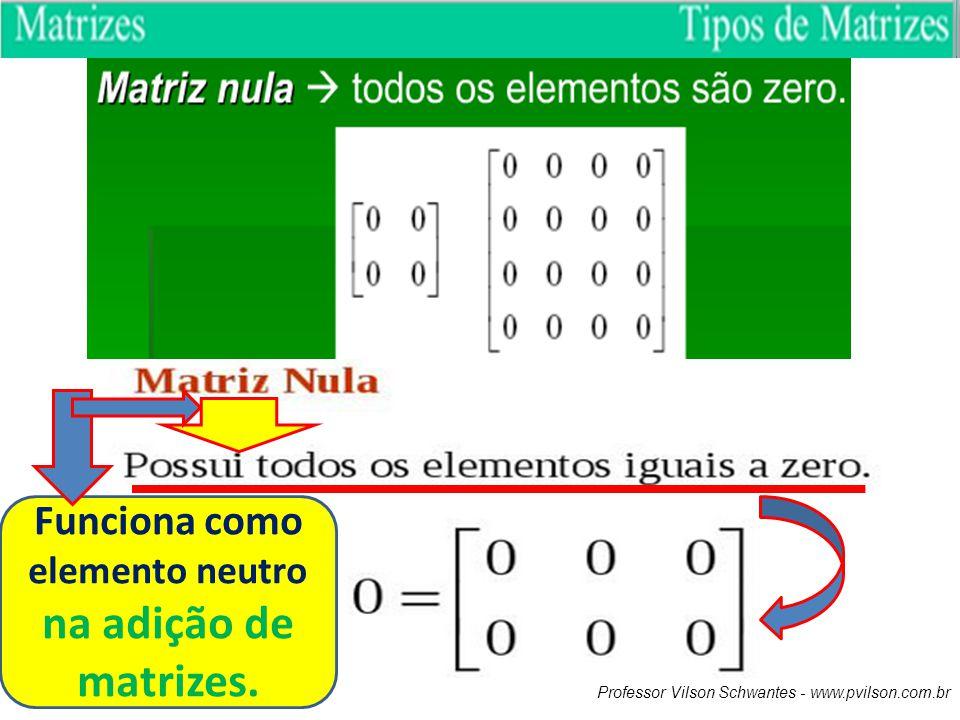 Funciona como elemento neutro na adição de matrizes.