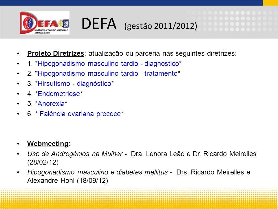 DEFA (gestão 2011/2012) Projeto Diretrizes: atualização ou parceria nas seguintes diretrizes: 1. *Hipogonadismo masculino tardio - diagnóstico*