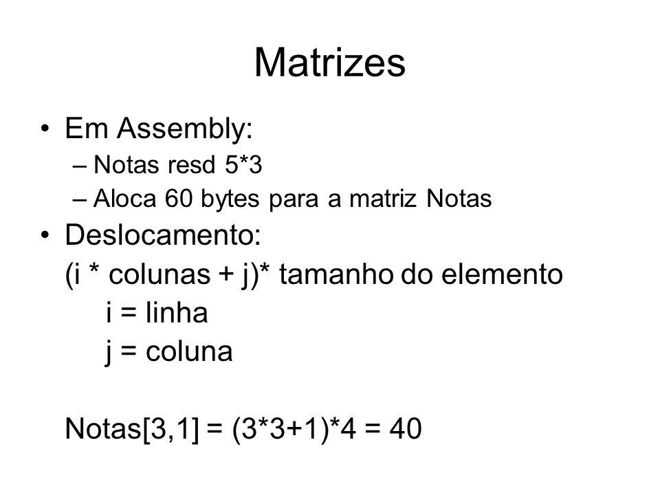 Matrizes Em Assembly: Deslocamento: