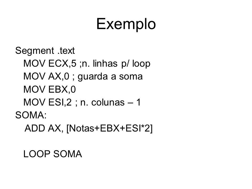 Exemplo Segment .text MOV ECX,5 ;n. linhas p/ loop