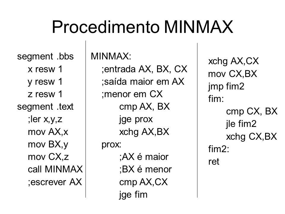 Procedimento MINMAX segment .bbs x resw 1 y resw 1 z resw 1