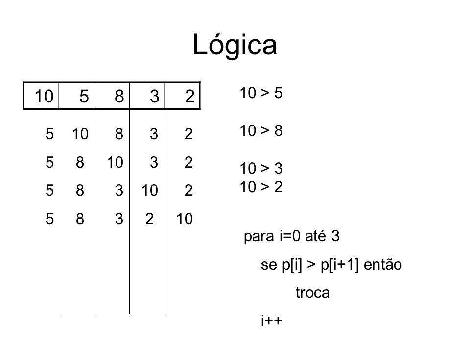 Lógica 10 5 8 3 2 10 > 5 10 > 8 10 > 3 5 10 8 3 2 10 > 2
