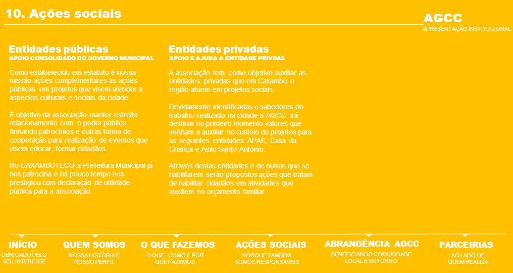 10. Ações sociais AGCC Entidades públicas Entidades privadas INÍCIO