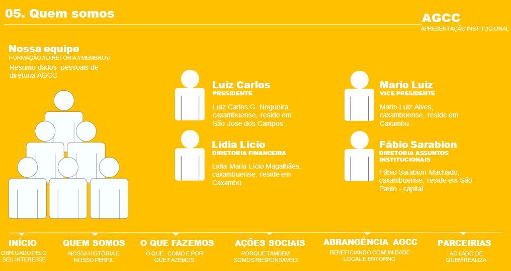 05. Quem somos AGCC Nossa equipe Luiz Carlos Mario Luiz Lidia Licio