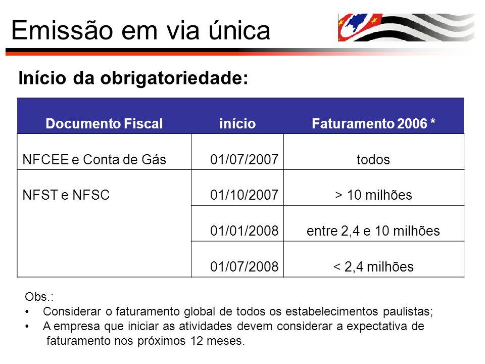 Emissão em via única Início da obrigatoriedade: Documento Fiscal