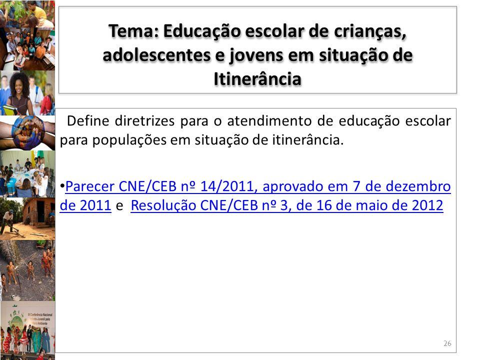 Tema: Educação escolar de crianças, adolescentes e jovens em situação de Itinerância