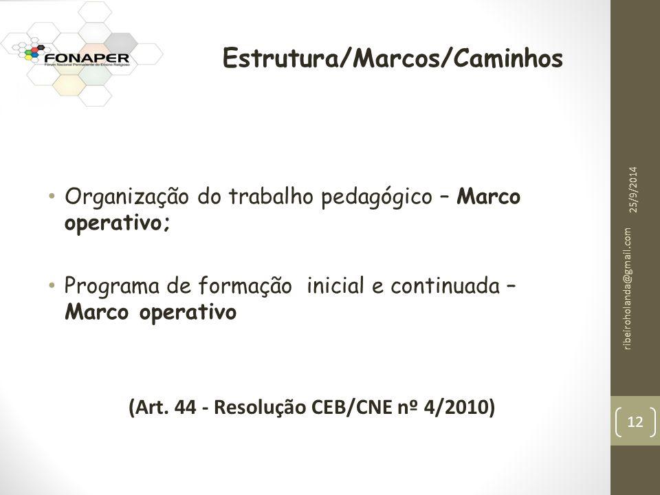 Estrutura/Marcos/Caminhos (Art. 44 - Resolução CEB/CNE nº 4/2010)
