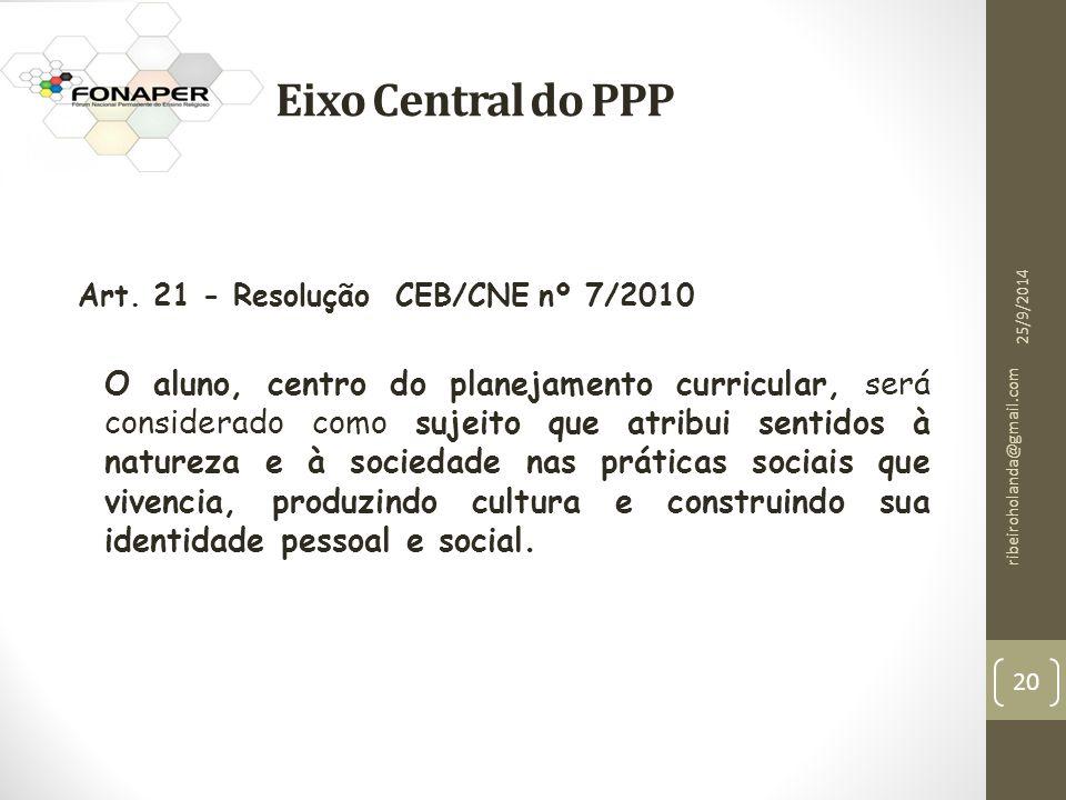 Eixo Central do PPP Art. 21 - Resolução CEB/CNE nº 7/2010