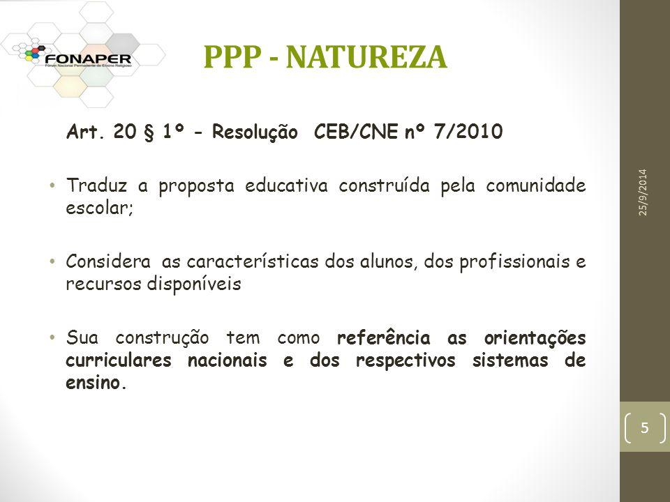 PPP - NATUREZA Art. 20 § 1º - Resolução CEB/CNE nº 7/2010