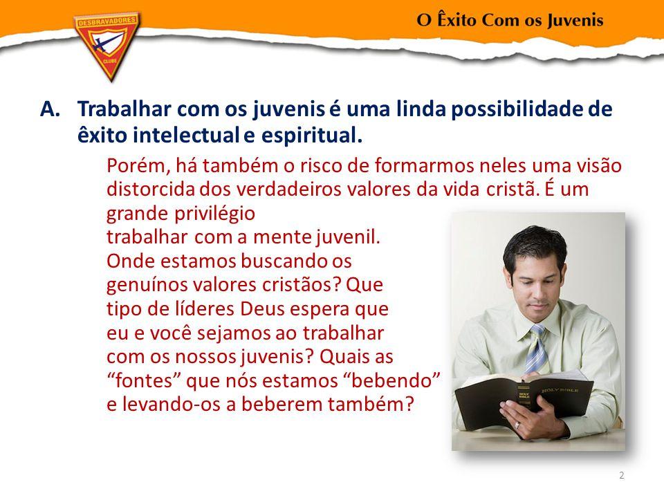 Trabalhar com os juvenis é uma linda possibilidade de êxito intelectual e espiritual.