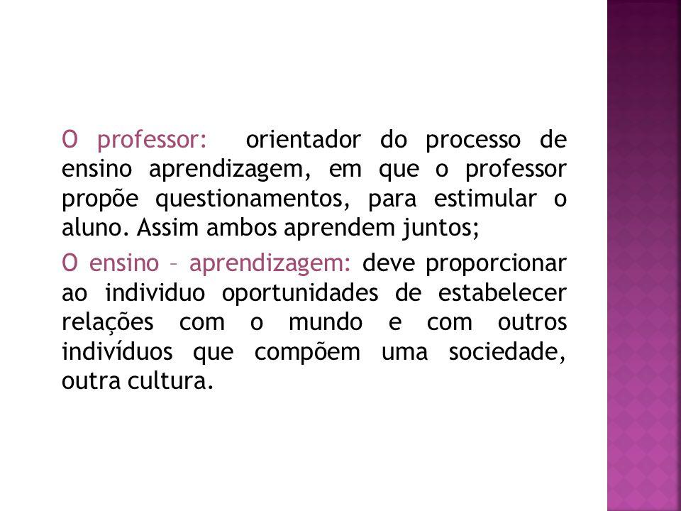 O professor: orientador do processo de ensino aprendizagem, em que o professor propõe questionamentos, para estimular o aluno. Assim ambos aprendem juntos;