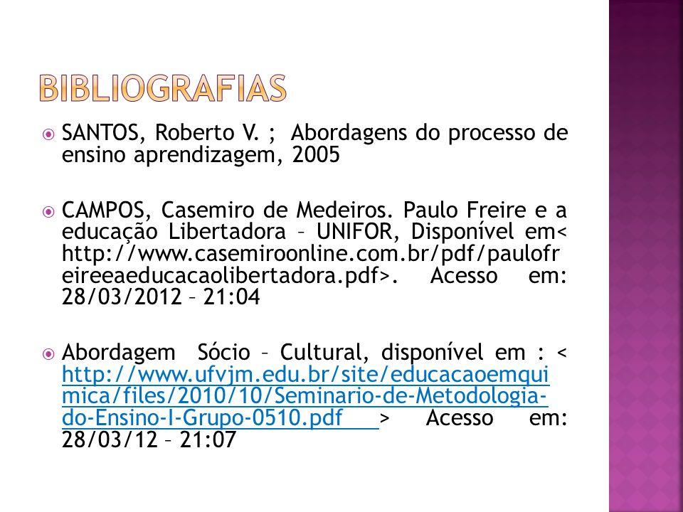 Bibliografias SANTOS, Roberto V. ; Abordagens do processo de ensino aprendizagem, 2005.
