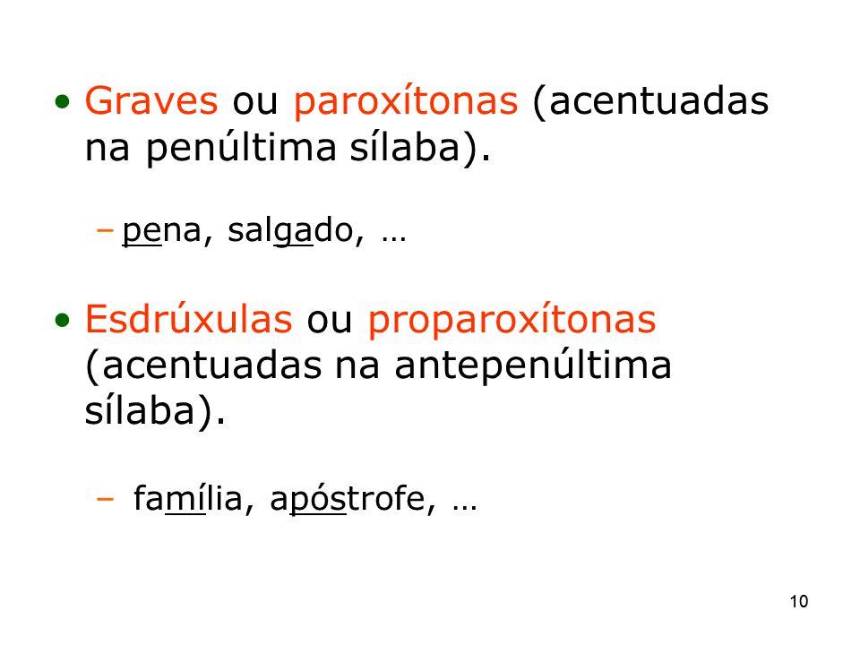 Graves ou paroxítonas (acentuadas na penúltima sílaba).