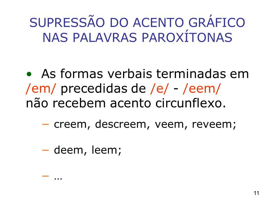 SUPRESSÃO DO ACENTO GRÁFICO NAS PALAVRAS PAROXÍTONAS
