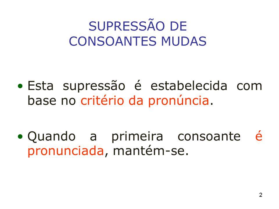 SUPRESSÃO DE CONSOANTES MUDAS