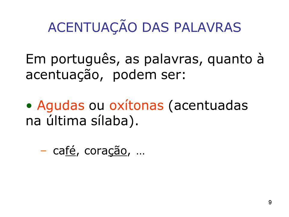 ACENTUAÇÃO DAS PALAVRAS