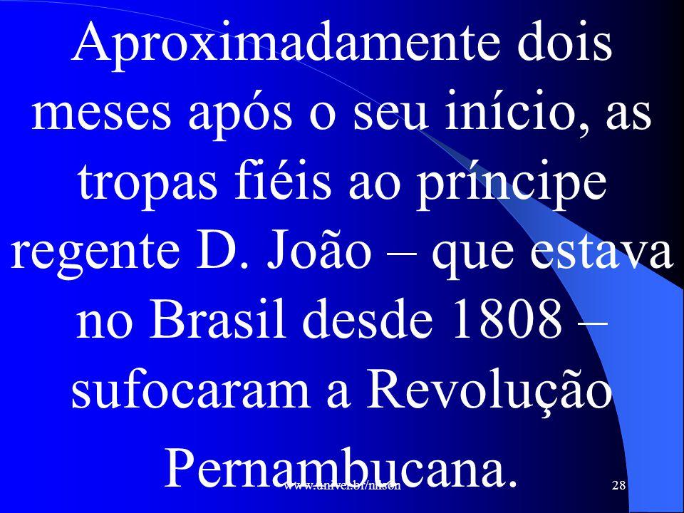 Aproximadamente dois meses após o seu início, as tropas fiéis ao príncipe regente D. João – que estava no Brasil desde 1808 – sufocaram a Revolução Pernambucana.