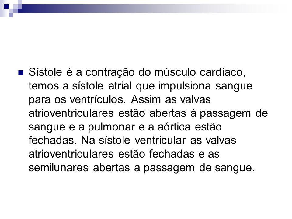Sístole é a contração do músculo cardíaco, temos a sístole atrial que impulsiona sangue para os ventrículos.