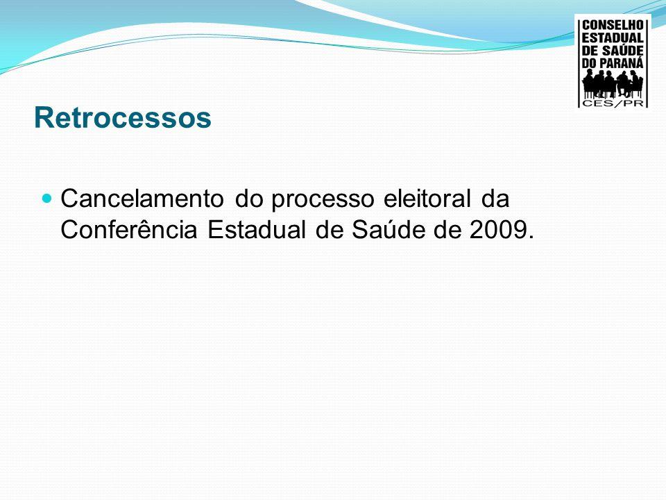 Retrocessos Cancelamento do processo eleitoral da Conferência Estadual de Saúde de 2009.