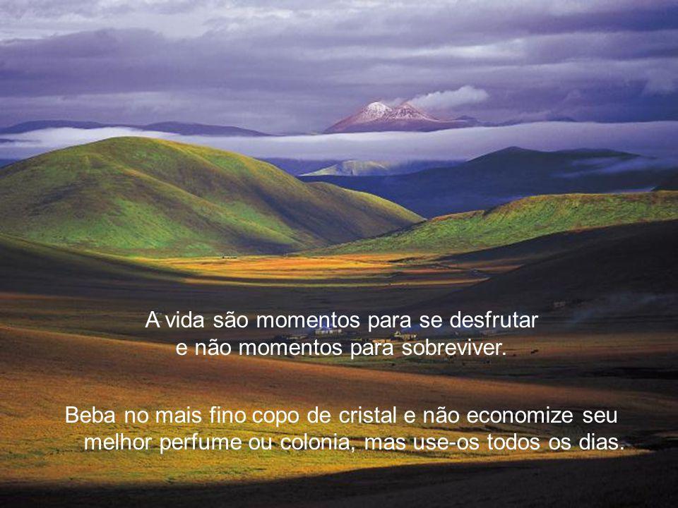 A vida são momentos para se desfrutar e não momentos para sobreviver.