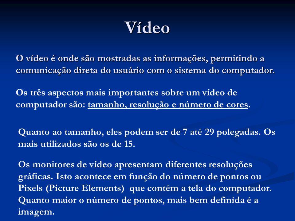 Vídeo O vídeo é onde são mostradas as informações, permitindo a comunicação direta do usuário com o sistema do computador.