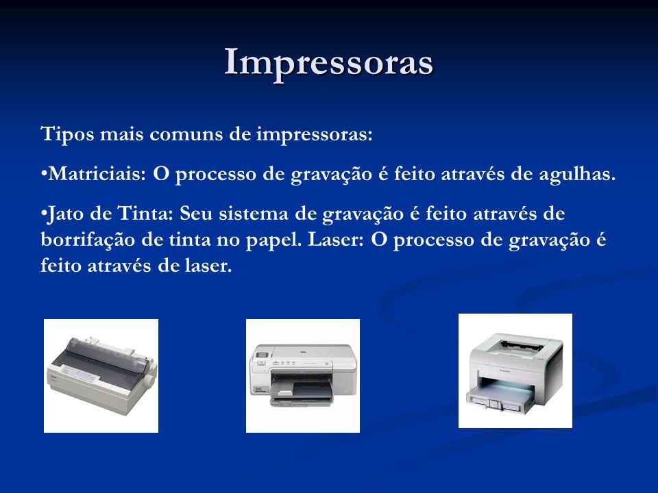 Impressoras Tipos mais comuns de impressoras: