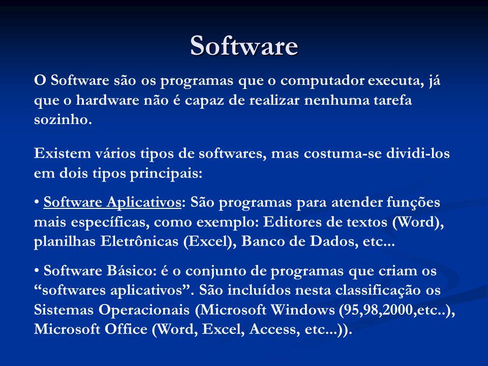 Software O Software são os programas que o computador executa, já que o hardware não é capaz de realizar nenhuma tarefa sozinho.